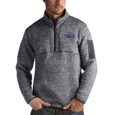 Orlando Magic Antigua Fortune 1/2-Zip Pullover Jacket - Heathered Black