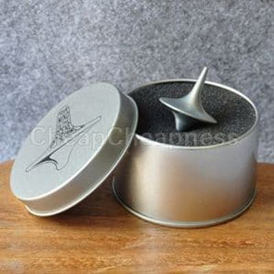 Mini Great Zinc Alloy Silver Spinning Top From Inception Totem Movie Children Toys  With Retail Metal Box Christmas Gift