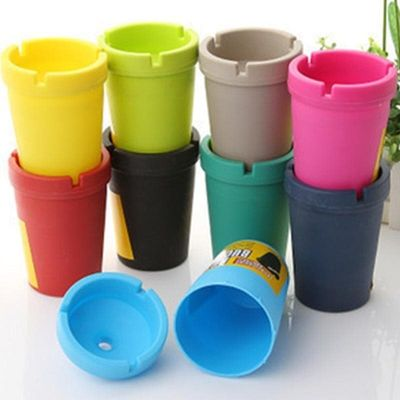 Portable Auto Car Truck Cigarette Smoke Ashtray Double Layer Candy Colors ABS Ash Cylinder Cup Holder TN99