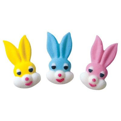 ON SALE Small Bunny Head Assortment Sugar Decorations Toppers Cupcake Cake Cookies Easter Favors Party 12 Count