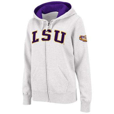 LSU Tigers Stadium Athletic Women's Arched Name Full-Zip Hoodie - White