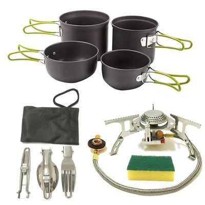 Camping Cookware Outdoor Cooking Mess Kit Portable Lightweight Pots Pans Water Kettle Set for Backpacking Hiking Trekking Picn