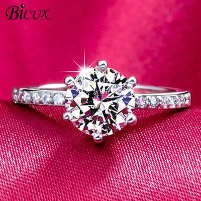 BICUX Classic Engagement Ring 6 Claws Design AAA White Cubic Zircon Fashion Female Women Wedding Band Rings 2019 Jewelry