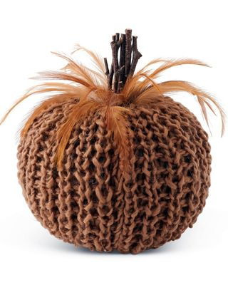 K&K Interiors 7in Brown Crochet Pumpkin with Wood Stem and Feathers