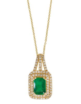 Effy Jewelry Emerald Pendant with Diamonds in 14K Yellow Gold, 1.25 TWC