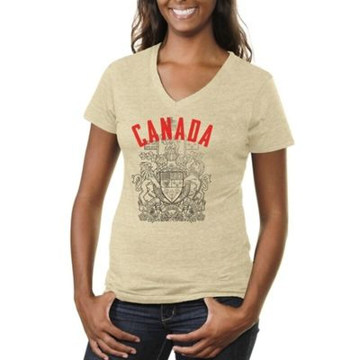 Canada Women's Coat Of Arms Tri-Blend V-Neck T-Shirt - White