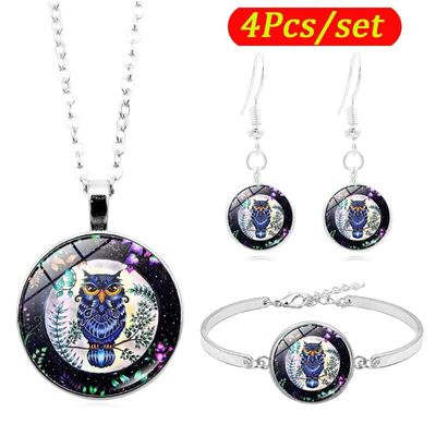 Multicolor Owl Art Photo Cabochon Glass Jewelry Set  Fashion Necklace Bracelet Earring Jewelry Sets for Women Gifts