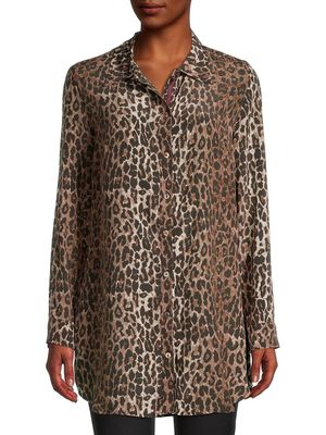 Johnny Was Leopard-Print Silk Shirt