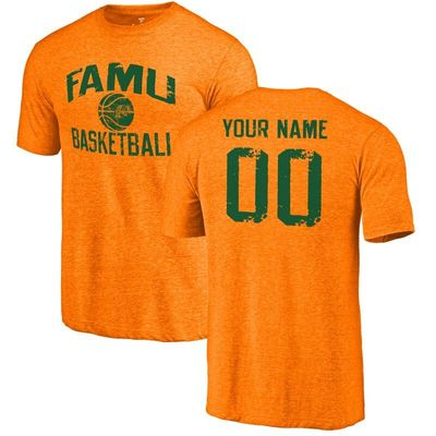 Florida A&M Rattlers Personalized Distressed Basketball Tri-Blend T-Shirt - Tennessee Orange