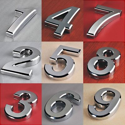 1PC Fashion Plated Home Decor Address Scutcheon Digits Hotel Door Sticker Plate Sign House Number Plaque 5cm Silver Modern