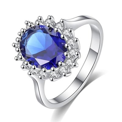 Princess Diana William Kate Middleton's Created Blue Ring Charms Engagement Wedding Women Jewelry