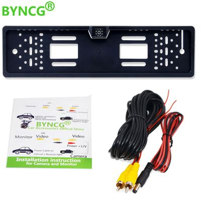 BYNCG 2019 New Arrival European Car License Plate Frame Auto Reverse Backup Rear View Camera 12LED Universal CCD Night Vision