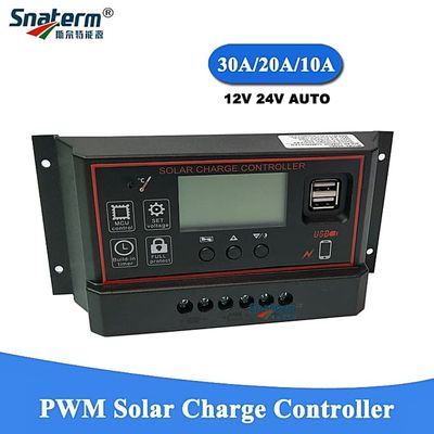 NEW PWM Solar Charge Controller 12V 24V Auto 10A 20A 30A Solar Battery Charger Solar PV Regulators With LCD Display And 5V USB(30A)