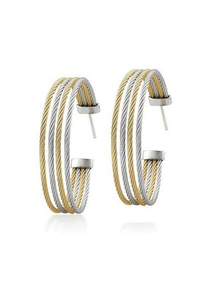 Alor 18K White Gold & Stainless Steel Hoop Earrings
