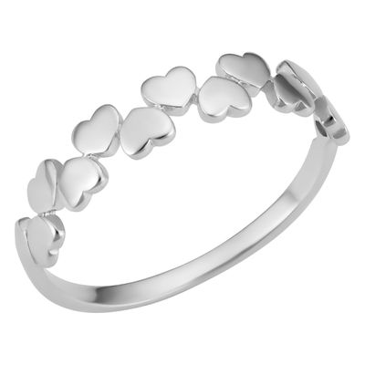 14k White Gold Hearts Ring