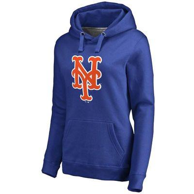 New York Mets Women's Team Color Primary Logo Pullover Hoodie - Royal