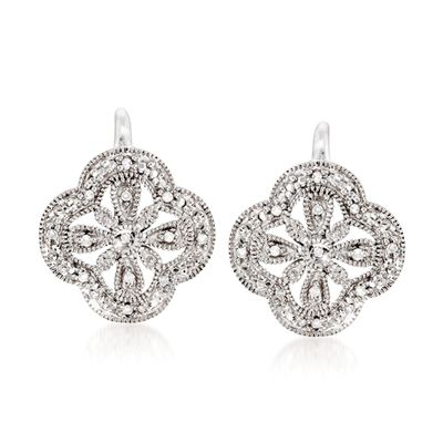 Ross-Simons Openwork Clover Drop Earrings With Diamond Accents in Sterling Silver