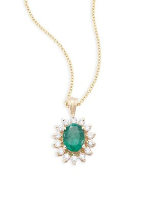 Effy Diamond and Emerald, 14K Gold, 14K Yellow Gold Necklace
