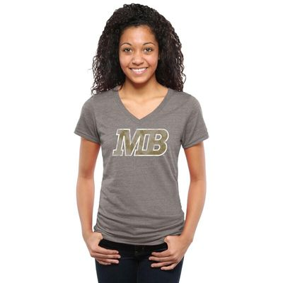 Cal State Monterey Bay Otters Women's Classic Primary Tri-Blend V-Neck T-Shirt - Gray