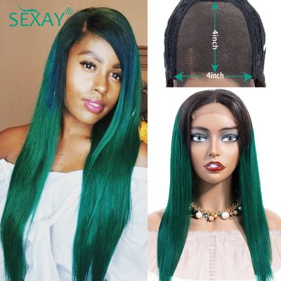 Sexay Green 4x4 Lace Closure Wig Turquoise 1B/Green Pre Colored 150% Ombre Human Hair Wigs Remy Malaysian Straight Closure Wig