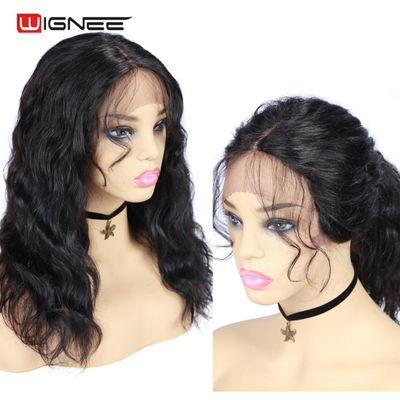 Wignee Lace Front Human Wigs With Baby Hair For Black Women Remy Brazilian PrePlucked Hairline Natural Wave Short Lace Human Wig