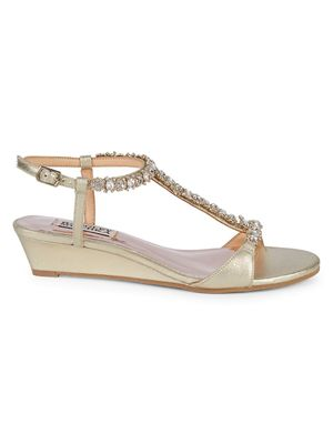 Badgley Mischka Yadira Embellished Wedge Sandals