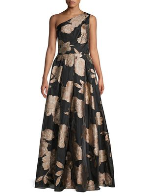 Carmen Marc Valvo Infusion Floral Pleated Organza Ball Gown