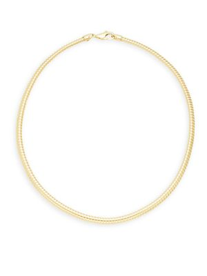 Saks Fifth Avenue Made in Italy 14K Yellow Gold Omega Tube Chain Collar Necklace