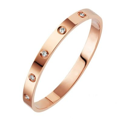 New Fashion Classic Women's Bangles For Women Gold Rose Gold Silver Color Rhinestone Bracelet Cuff Simple Trendy Jewelry