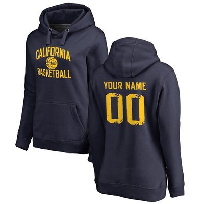 Cal Bears Women's Personalized Distressed Basketball Pullover Hoodie - Navy