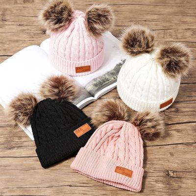 Winter Hat For Girls Baby Boys Pom Poms Hat Children Knitted Beanies Thick Baby Hat Infant Toddler Warm Cap