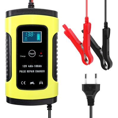 12V 6A Full Automatic Car Battery Charger Power Pulse Repair Chargers Wet Dry Lead Acid Battery-chargers Digital LCD Display