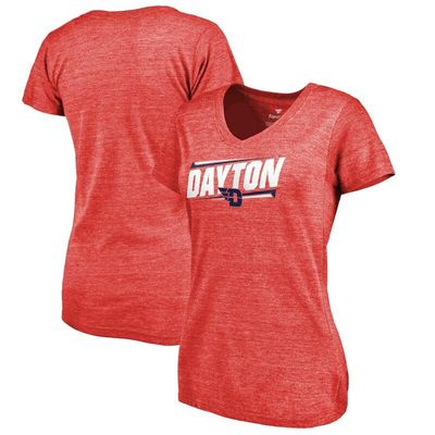 Dayton Flyers Women's Double Bar Tri-Blend V-Neck T-Shirt - Red