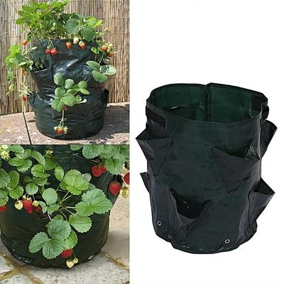 Outdoor Garden Planting Container Bag With 8 Side Pockets