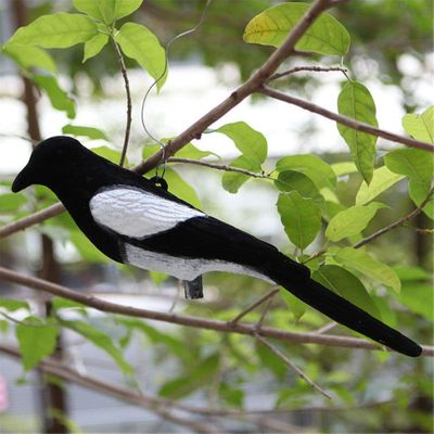 New Flocked Magpie Bird Decoy Full Body Trap Rook Shooting Hunting With Stake Lawn Yard Garden Decor Hunting Decoys 1pc