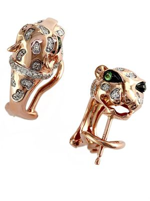 Effy Signature 14K Rose Gold Diamond and Tsavorite Panther Earrings