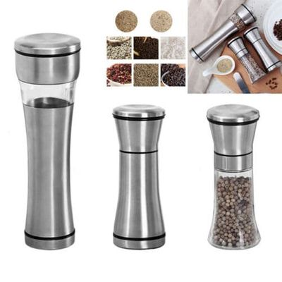 Home Stainless Steel Manual Salt Pepper Spice Mill Grinder Kitchen Hand Tool UK
