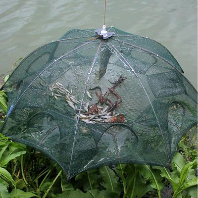 Strengthened 4-8 Holes Automatic Fishing Net Shrimp Cage Nylon Foldable Fish Trap Cast Net Cast Fold Crab trap Fishing Network