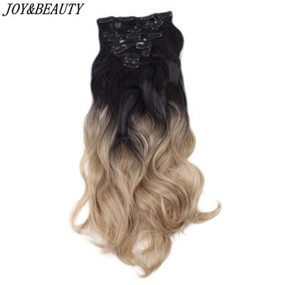 JOY&BEAUTY Hair 22inches 16clips Hairpiece Body Wave Synthetic High Temperature Fiber Black Brown Ombre Clip In Hair Extensions