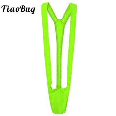 TiaoBug Men Bright Fluorescence Stretchy Novelty Mankini Thong Borat Swimsuit Male Swimming Beach Hot Sexy Swimwear Bathing Suit