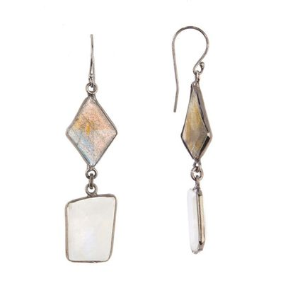 Adornia Jagged Cut Moonstone and Labradorite Earrings .925 Sterling Silver
