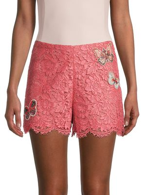 Valentino Butterfly Patch Lace Shorts