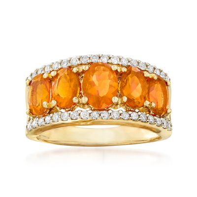 Ross-Simons Fire Opal and Diamond Ring in 14kt Yellow Gold