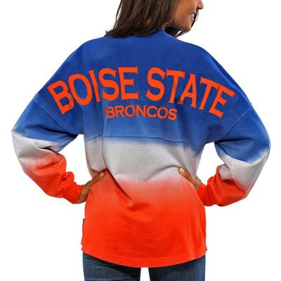 Boise State Broncos Women's Ombre Long Sleeve Dip-Dyed Spirit Jersey - Royal