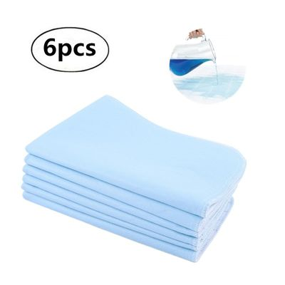 6pcs Reusable Washable Pad Urine Mat Breathable Super Absorbent Pad For Adults Incontinence Pad Nursing Pad Blue + White 45 * 60