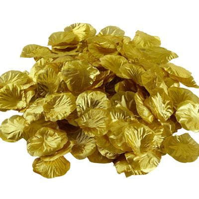 100pcs Fabric Artificial Flower Rose Petals for Wedding Party Decoration (Gold)