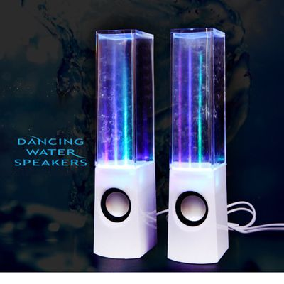 LED Light Dancing Water Speakers Music Fountain Light Speakers for PC Laptop Phone Portable Desk Stereo Water Dancing Speaker