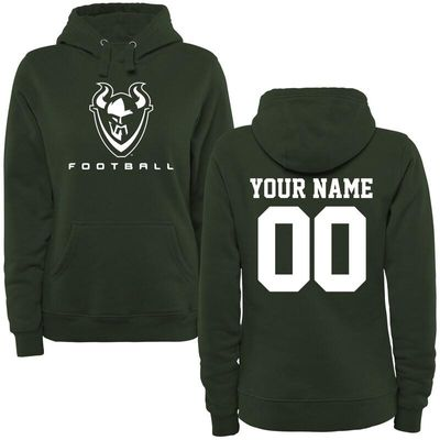 Portland State Vikings Women's Personalized Football Pullover Hoodie - Green