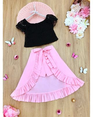 Mia Belle Girls Ruffle Lace Crop Top & High-Low Skirt Set