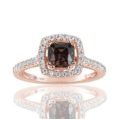 Suzy Levian Rose Sterling Silver Brown Asscher Cut Cubic Zirconia Halo Engagement Ring